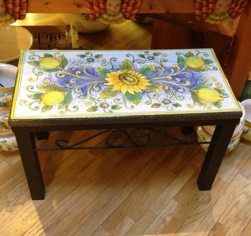 "31.5x16.5"" Italian Volcanic Bench - Lemons and Sunflowers"
