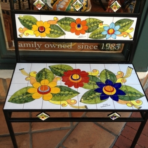 Parrucca Tile Bench - Flower design