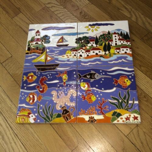 Tuscan Seaside Village Tabletop or Decorative Panel